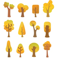 Autumn geometric trees vector