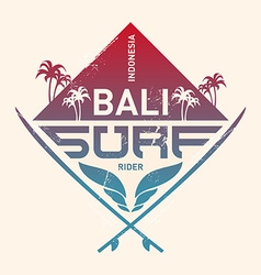 Bali surf rider indonesia surfing vintage label vector