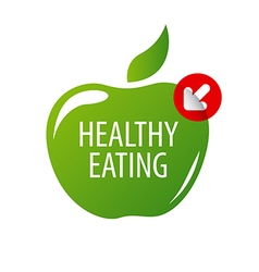 Logo green apple for a healthy diet vector