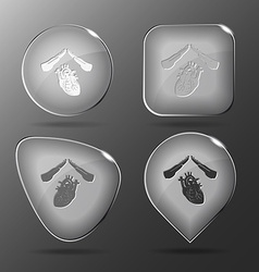 Heart protect glass buttons vector