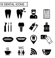 16 dental icons isolated vector