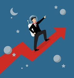 Businessman astronaut standing on a growing graph vector