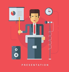 Businessman giving a presentation flat style vector