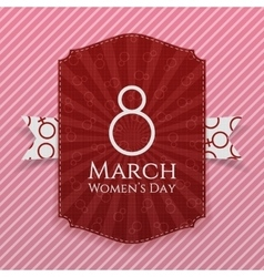 Womens day striped banner and ribbon vector
