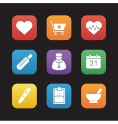 Medical flat design icons set vector