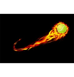 Fire burning tennis with background black vector image