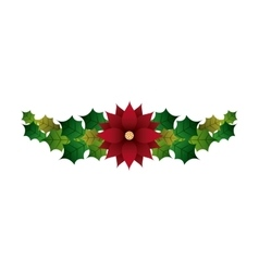 Leaves and flower icon merry christmas design vector