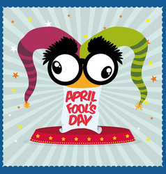 April fools day hat joker star striped background vector