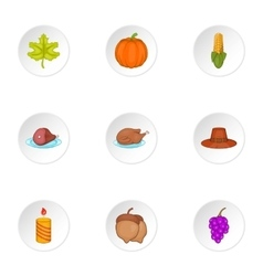 Autumn festival icons set cartoon style vector