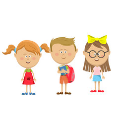 back to school friends girls with boy standing vector image