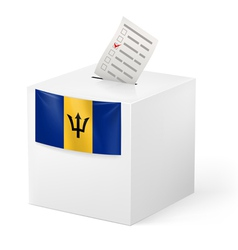 Ballot box with voting paper barbados vector