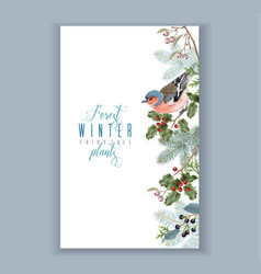Bird winter border vector