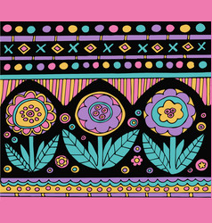 Bright colorful mexican pattern with flowers vector