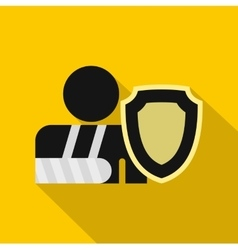 Broken hand and safety shield icon flat style vector