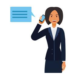 Business ceo woman making phone call cartoon flat vector