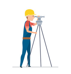 Cadastral engineer conducting land expertise vector