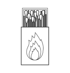 Contour silhouette of matchbox with logo flame vector
