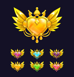 cool decorative heart with golden wings and crown vector image