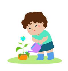 Cute cartoon boy watering plant vector