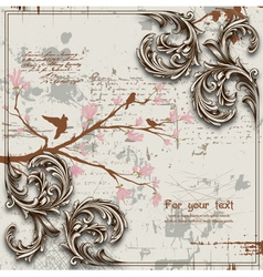 engraved floral background vector image vector image