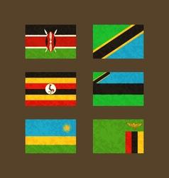 Flags of kenya tanzania uganda zanzibar rwanda vector