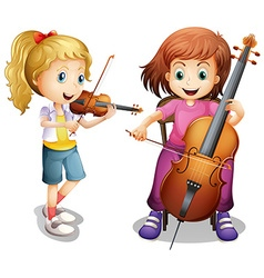 Girls playing violin and cello vector image vector image