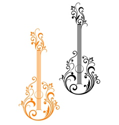 Guitar with floral embellishments vector image