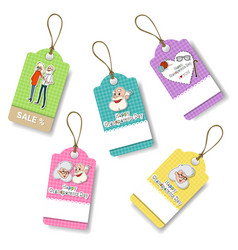 happy grandparents day shopping tags set holiday vector image