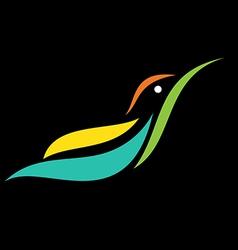 Image of an humming bird design on black backgroun vector