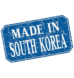 made in South Korea blue square grunge stamp vector image vector image