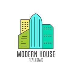 Modern house logo design real estate icon vector