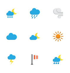 Nature flat icons set collection of frosty cloud vector