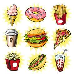 Pop art set of trendy fast food patches vector