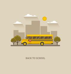 School bus flat with city landscape vector