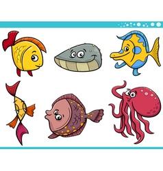 Sea life fish cartoon set vector
