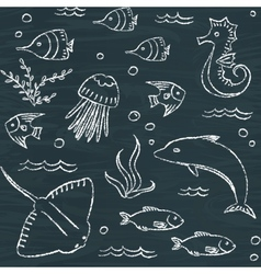 Sealife chalkboard seamless pattern vector image vector image