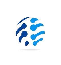 sphere blue technology data logo vector image