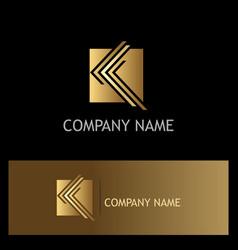 square letter k company gold logo vector image