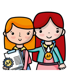 Teacher with student to class education lesson vector
