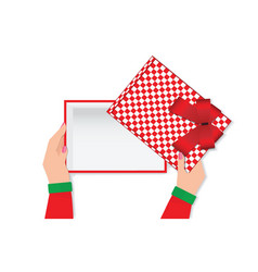 top view of woman hands holding a empty gift box vector image vector image