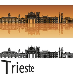 Trieste skyline in orange background vector