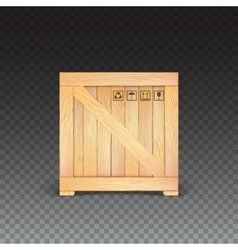 Wooden box isolated icon vector