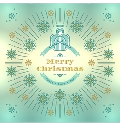 Merry christmas greeting card angel  xmas vector