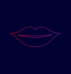 Lips sign   line icon with vector