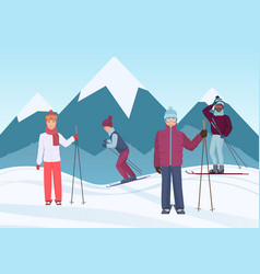 A group of people riding skies in the mountains vector