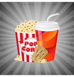 Grey grungy background with popcorn vector