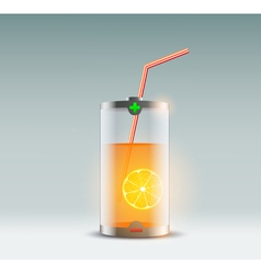 orange juice in a glass in the form of a battery vector image