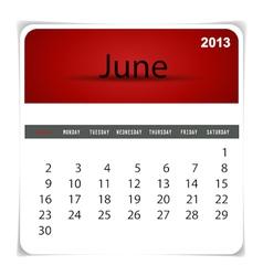 2013 calendar june vector