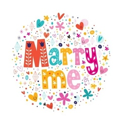 Marry me retro typography lettering decorative vector