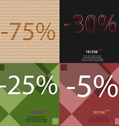 30 25 5 icon set of percent discount on abstract vector
